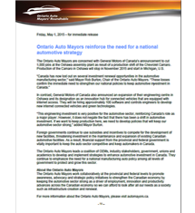 Ontario Auto Mayors reinforce the need for a national automotive strategy - 2015