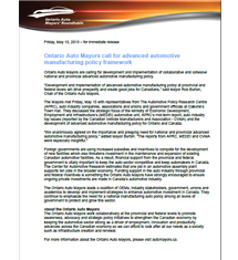 Ontario Auto Mayors call for advanced automotive manufacturing policy framework - 2015